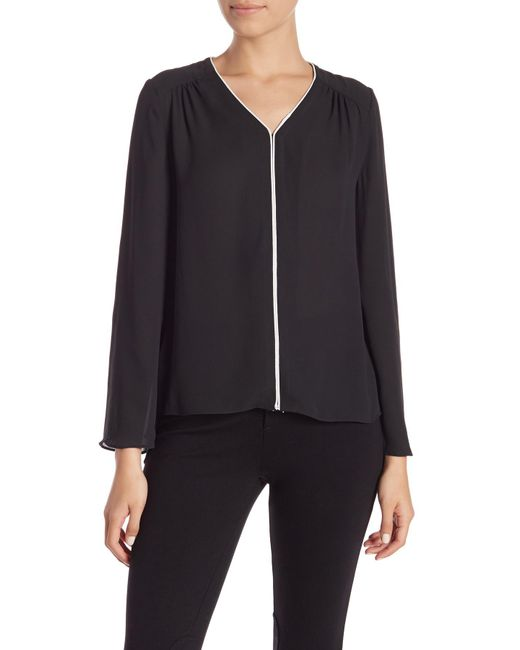 Philosophy Apparel - Black Long Sleeves Piped Blouse (petite) - Lyst