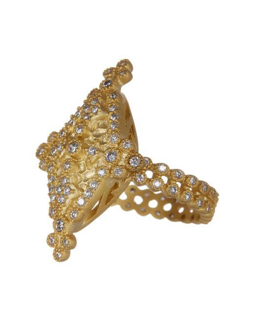 Freida Rothman - Metallic 14k Gold Plated Sterling Silver Bezel Set Cz Maltese Marquise Ring - Size 9 - Lyst