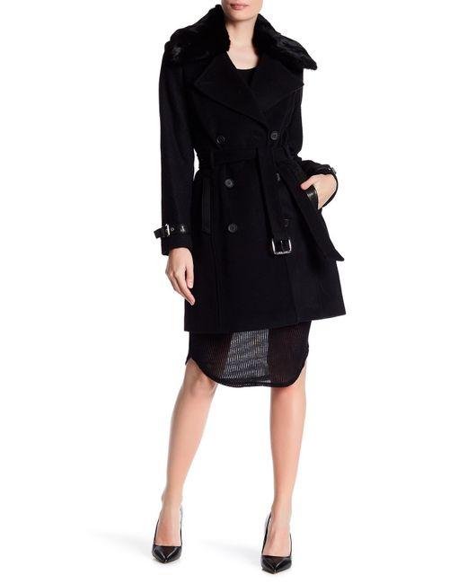 Andrew Marc | Black Genuine Rabbit Fur Trim Wool Blend Coat | Lyst