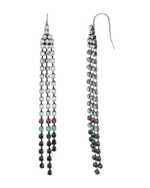 Steve Madden - Metallic Multi-colored Crystal Dangle Chain Earrings - Lyst