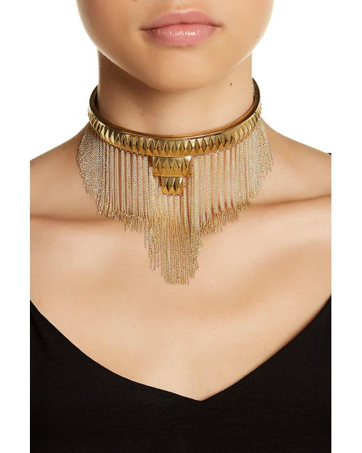 House of Harlow 1960 | Metallic Fringe Pyramid Necklace | Lyst
