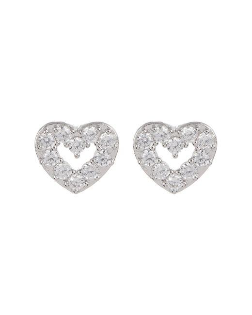 Nadri - Metallic Cz Accent Reminisce Open Heart Stud Earrings - Lyst