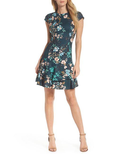 Eliza J - Green Floral Print Cap Sleeve Fit & Flare Dress - Lyst
