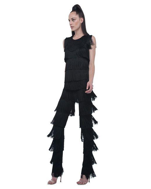 Norma Kamali | Black Cropped Sleeveless Fringe Tee | Lyst