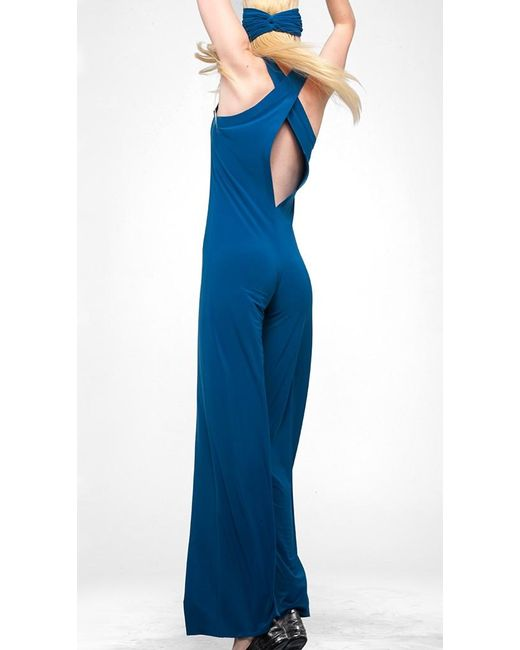 Norma kamali racer jumpsuit in blue lyst - Norma kamali costumi da bagno ...
