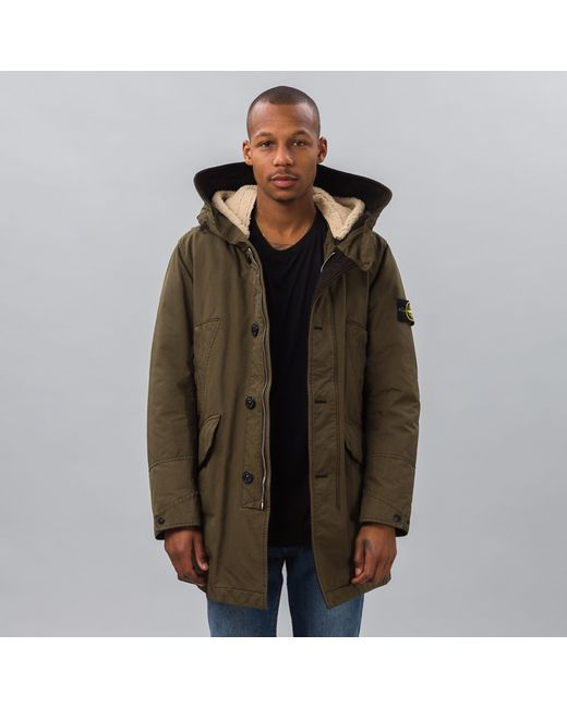 stone island david tc padded jacket in green for men lyst. Black Bedroom Furniture Sets. Home Design Ideas