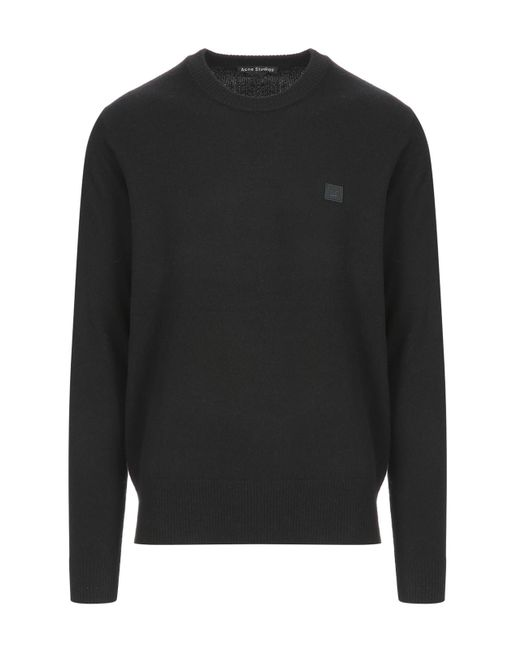 Acne - Black Nalon Face Wool Sweater for Men - Lyst