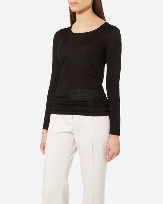 N.Peal Cashmere | Black Super Fine Long Sleeve Cashmere Top | Lyst