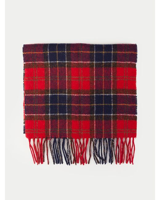 Barbour - Red Tartan Lambswool Scarf for Men - Lyst