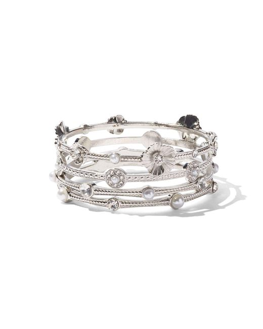 New York & Company - Metallic Floral Cuff Bangle Bracelet - Lyst