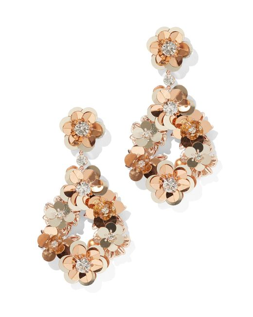 New York & Company - Pink Floral Sequin Drop Earring - Lyst