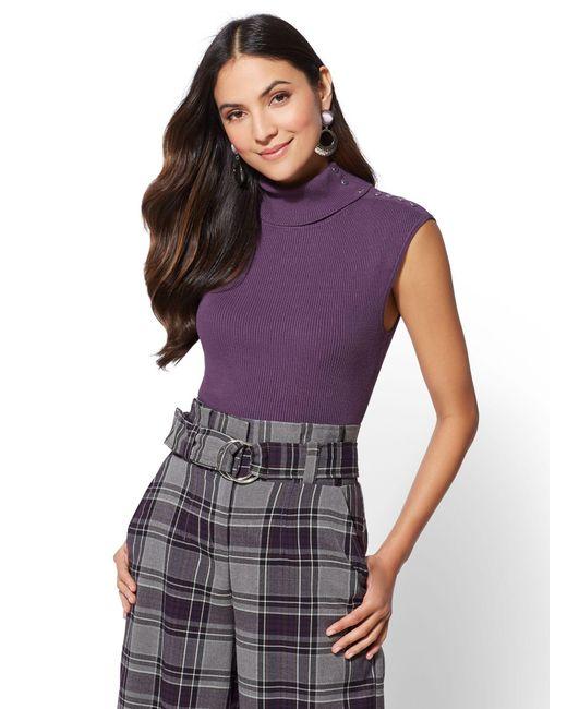 New York & Company - Purple 7th Avenue - Sleeveless Turtleneck Sweater - Lyst
