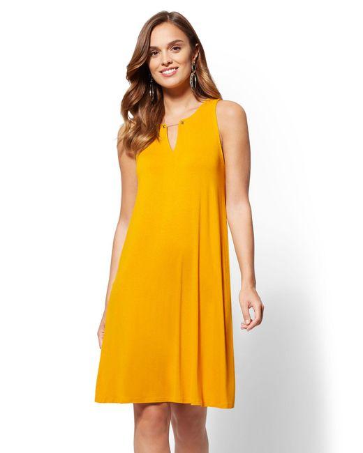 New York & Company - Yellow Hardware-accent Split-neck Swing Dress - Lyst