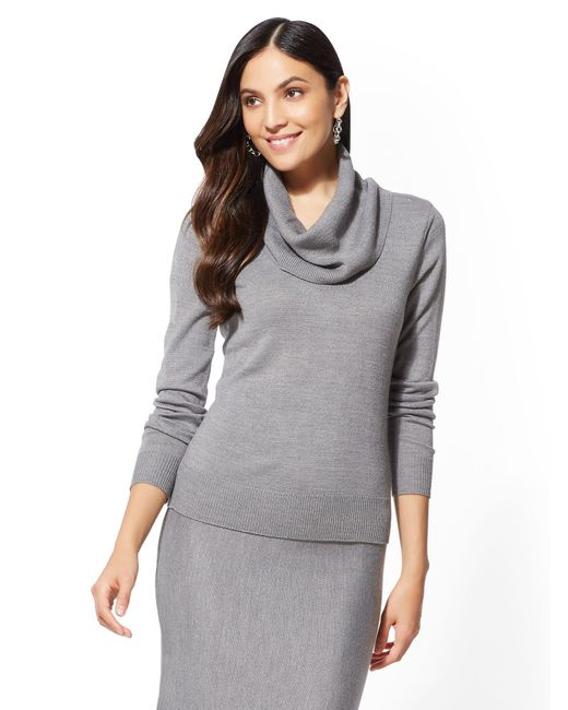 New York & Company - Gray Grey Cowl-neck Sweater - Lyst