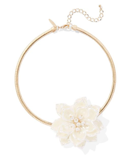 New York & Company - Metallic Faux-pearl & Floral Goldtone Collar Necklace - Lyst