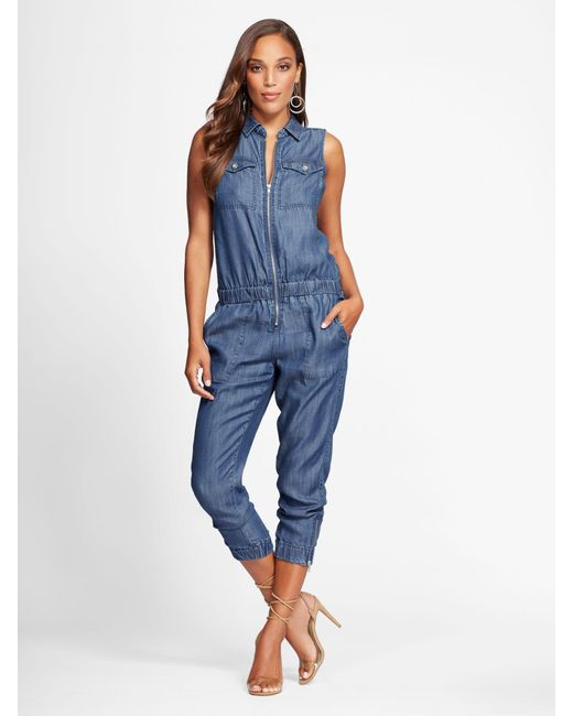 aab2dc0dd5c9 New York   Company - Blue Ultra-soft Chambray Jumpsuit - Gabrielle Union  Collection -