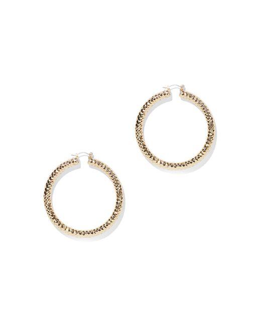 New York & Company - Metallic Faceted Goldtone Hoop Earrings - Lyst