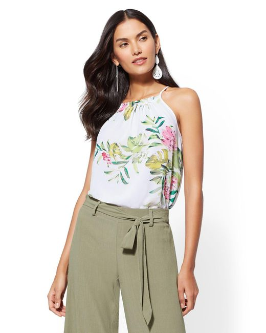 New York & Company - Green Floral Pleated Halter Blouse - Lyst