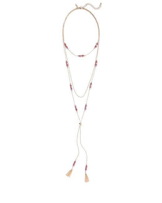 New York & Company - Metallic Goldtone Tassel Pendant Necklace - Lyst