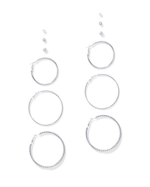 New York & Company - Metallic 6-piece Silvertone Hoop & Post Earring Set - Lyst