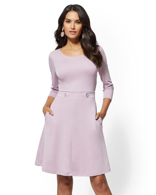 New York & Company - Purple Button-accent Fit And Flare Dress - Lyst
