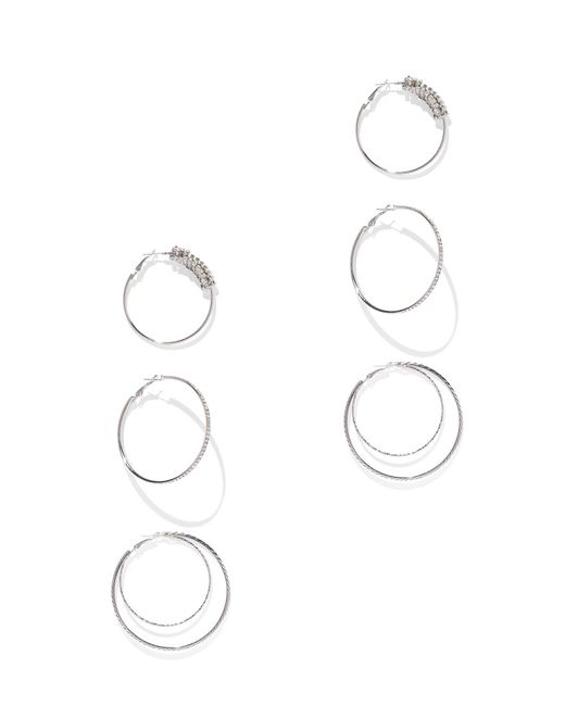 New York & Company - Metallic 3-piece Sparkling Silvertone Hoop Earring Set - Lyst