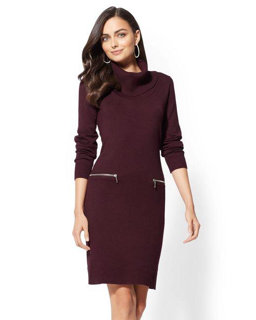 New York & Company - Purple Zip-accent Cowl-neck Sweater Dress - Lyst
