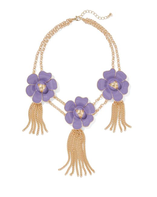 New York & Company - Purple Eva Mendes Collection - Floral & Tassel Statement Necklace - Lyst