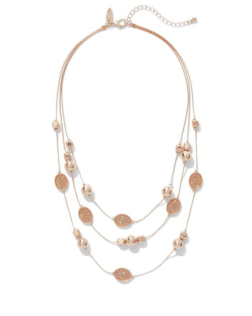 New York & Company - Pink Faux-druzy Illusion Necklace - Lyst