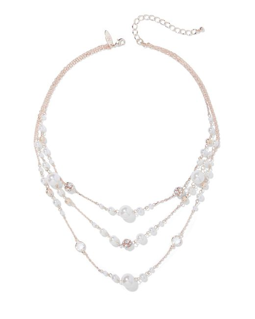 New York & Company - Pink 3-row Faux-pearl Illusion Necklace - Lyst