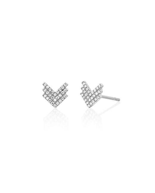 EF Collection - Metallic Diamond Shield Stud Earrings - Lyst