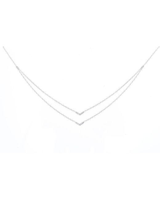EF Collection - Metallic Diamond Double Mini Chevron Necklace - Lyst