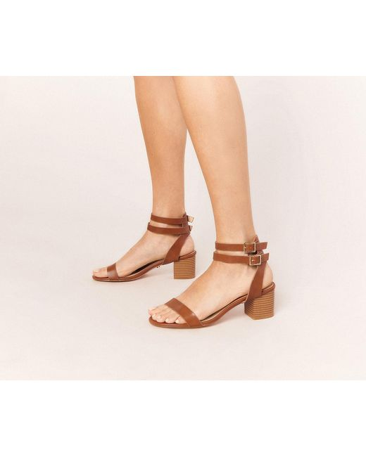 a3151282a31 Oasis - Brown Maya Block Heel Sandals - Lyst ...