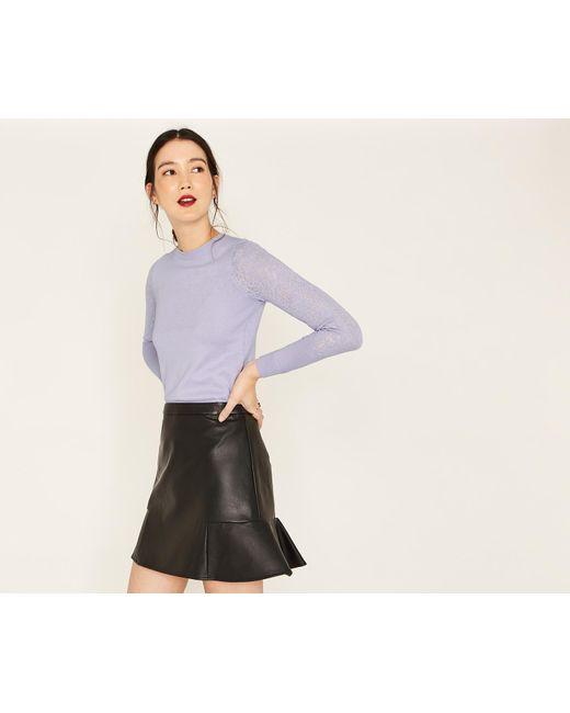 Oasis - Purple Lace Sleeve Knit - Lyst