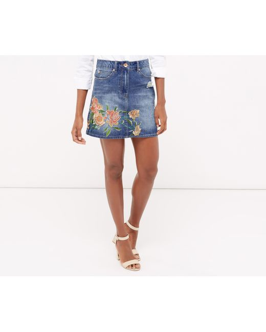 oasis the falls embroidered skirt denim in blue lyst