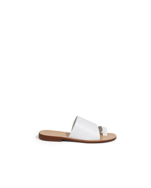 2a72da95eed265 ... Oasis - White Leather Toe Strap Slider - Lyst ...