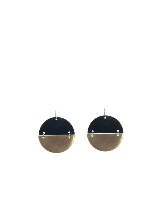Oasis | Black 2 Tone Disc Earrings | Lyst