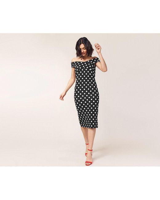 4a3e95e3f9d2 ... Oasis - Black Spot Bardot Tube Dress - Lyst ...