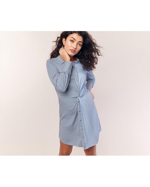 023d44675577 Oasis - Blue Multicoloured Stripe Twist Shirt Dress - Lyst ...