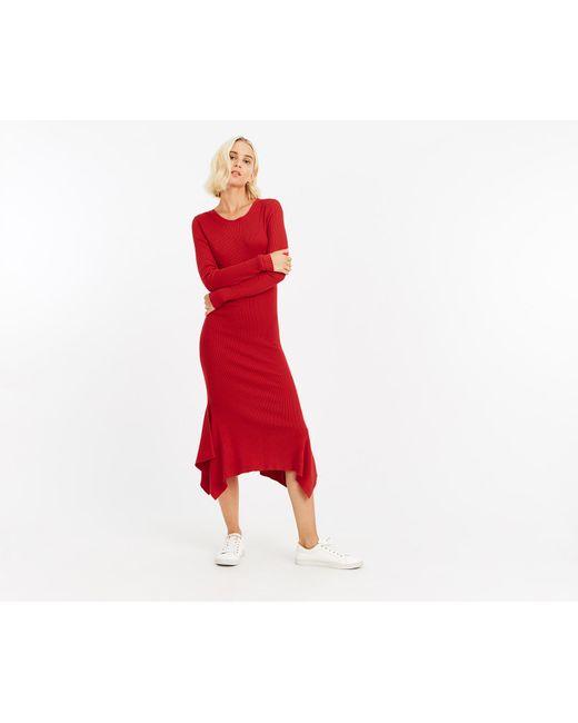 Oasis - Red Hanky Hem Knitted Dress - Lyst