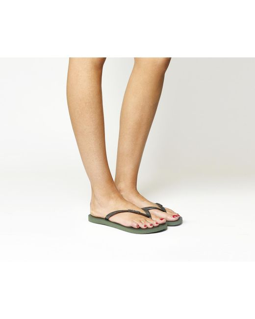 Havaianas | Green Slim Metal Mesh Flip Flops | Lyst