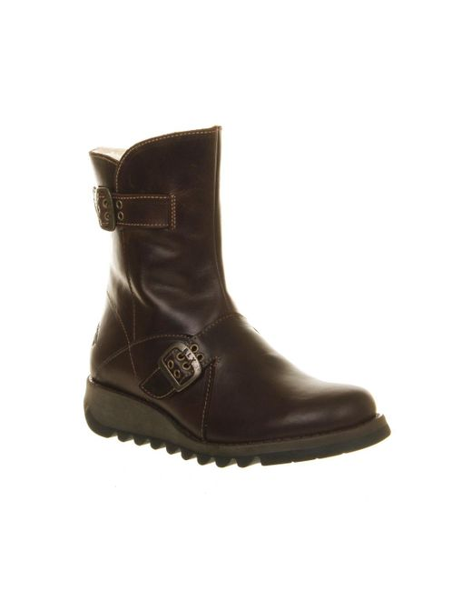 Fly London   Brown Sett Low Wedge Buckle Boots   Lyst