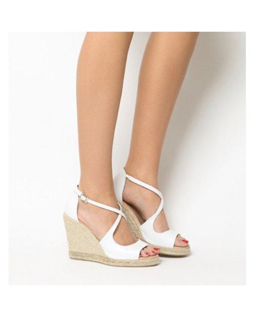 64cd202d1eb2 Lyst - Office Halkidiki Espadrille Wedge in White