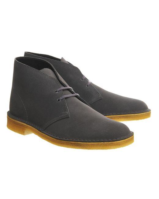 clarks desert boots in gray for lyst