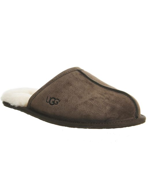 UGG | Brown Scuff Suede Slippers for Men | Lyst