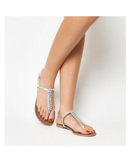 Office - Gray Sprinkles Embellished Toe Post Sandal - Lyst