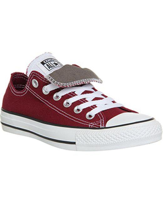 Converse Allstar Low Double Tongue in Red - Lyst 7550647db