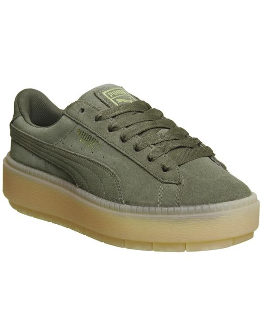 puma suede platform trace trainers in green for men lyst. Black Bedroom Furniture Sets. Home Design Ideas