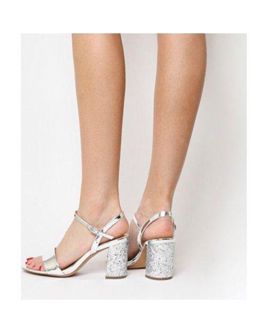 b123a2c82cd Office Millionaire Block Heel Sandal in Gray - Lyst