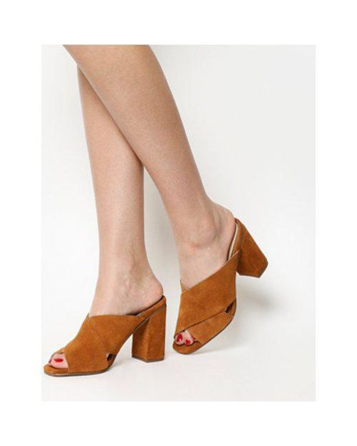 Office | Brown Assume Square Toe Cross Strap Mule | Lyst